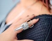 Steampunk scissor rhinestone ring silver plated adjustable sizes 5 6 7 8 9 10 11 12