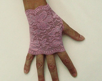 Pink Lace Gloves  - Dusty PInk Fingerless Gloves - Mauve Stretch Lace Gloves