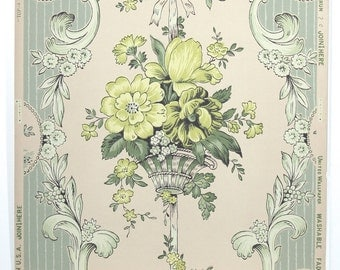 REMNANT of Vintage Wallpaper, Single 48 Inch Piece - Segmant of Floral Wallpaper with Chartruese Flower Boquets on Ivory and Seafoam