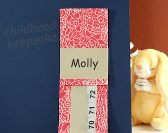 GIRL'S PERSONALIZED DECOR - Fabric Growth Chart - Easter Gift - Hot Pink