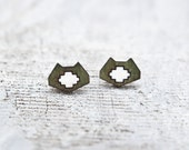Green Cat Geometric Earrings Tribal stud earrings Ear Posts Valentine's Day Gift Gift for girl friend Gift Sister