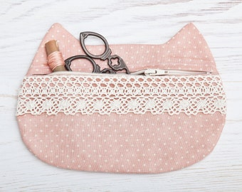 Cat Makeup Bag with lace, Pink Cosmetic Bag, Cute Pencil Case, Cat Pouch, polka dots Travel bag, Bridesmaid Gift