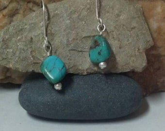 Genuine turquoise earrings, silver turquoise dangle earrings, real turquoise pebbled earrings