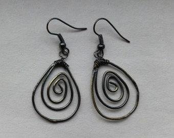 Antiqued brass spiral earrings