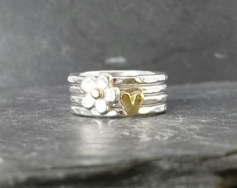 Little Flower & Sweetheart rings in sterling silver with  9ct 9k 14ct 14k solid gold heart, handmade, UK