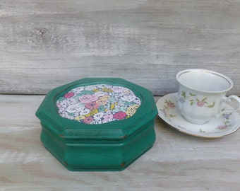 Small Upcycled Jewelry Box Painted Emerald Green