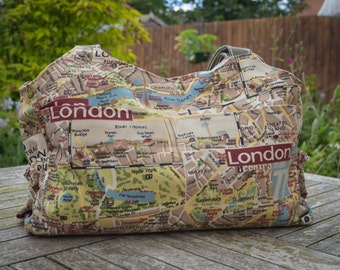 London map baby changing bag, nappy bag, diaper bag, large purse, baby shower gift, mum to be gift, large shoulder bag, new baby gift
