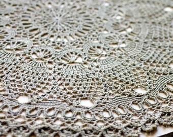 "Вrown crochet doily Round 50 cm / 20"". Crocheted Doily."