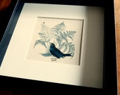Blackbird and bee framed print - square frame