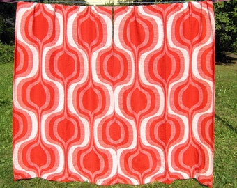 Vintage Pair Mod Curtains in bright reds and off white, Retro 1970s Woven Geometric Curtains, Mid Century Long Thick Pantone Drapes, Germany