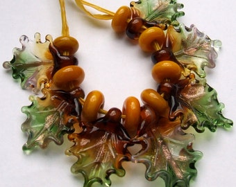 Lampwork Glass Leaves for Jewelry Making, Set of 7 Fall Leaf Beads + 8 Spacers, Autumn Colors, Made to Order