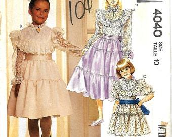 McCall's 4040 Girls Size  7, Nannette Ruffled Dress And Sash Pattern, UNCUT