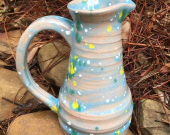 Light blue Pitcher, small pitcher, blue creamer, ceramic pitcher, small blue pitcher