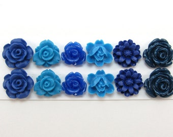 12 pcs Resin Flower Cabochons Assorted Sizes Sampler Pack - Blues Mix - Small Flowers (version 2)