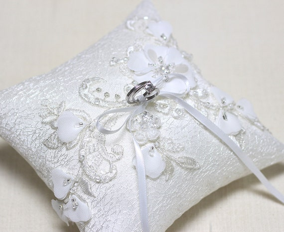 Wedding ring bearer pillow, lace ring pillow, wedding ceremony ring pillow, wedding ring cushion, white silver ring pillow