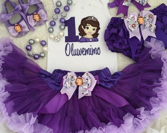 3-pcs set Princess Sofia inspired Birthday outfit-Include Personalised Top,super fluffy skirt and matching headband