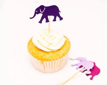 Elephant Cupcake Topper - Elephant Baby Shower - Cupcake Topper - Cake Decoration - Rainbow Birthday - Animal Party Theme - Party Decoration