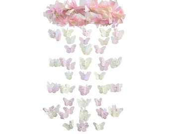 Pink Cream Nursery Butterfly Mobile- Pink & Ivory Nursery Mobile, Crib Mobile, Nursery Decor, Baby Shower Gift