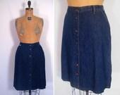 1970s 1980s dark denim high waist skirt • 70s 80s ink blue snap front cotton skirt • vintage night and day skirt