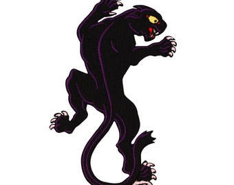 Purple & Black Panther Patch Right-Facing Jungle Cat Animal Iron-On Applique