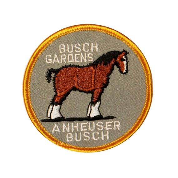 """Florida """"Busch Gardens"""" Clydesdale Horse Patch Travel Souvenir Iron-On Applique"""