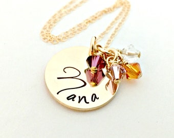 Personalized Gold Name Necklace with Birthstone Crystals - Thick 14K Gold Filled Pendant Swarovski Crystal - Custom Mother Grandma Nana Gift