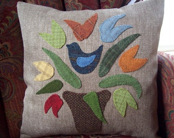 Folk Art Blue Bird Sitting in the Tulips on Tan Tweed Pillow Slipcover