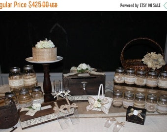 ON SALE Rustic Wedding Decor 30  Piece Package / Card Box / Mason Jars / Advice Box / Candy Scoops / Flower girl Basket ++