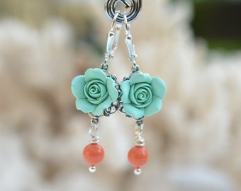 Mint Rose and Coral Orange Swarovski Pearls. Mint and Coral Earrings. Tamara Statement Earrings.