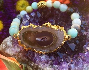 OOAK Stalactite - gold dipped - amazonite stretch bracelet