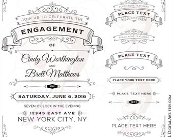Vintage Ornate Frames Decorative Wedding Decoration Design Elements Rustic Signs Banners Old Fashioned Vector Text Dividers Clip Art 10031