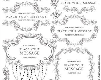 Flourish Frame Clipart Acanthus Leaves Foliage Floral Border Clip Art Chandelier Digital Graphics Wedding Business VECTOR Png Clip Art 10308