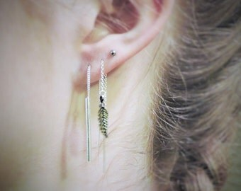 Tiny Threader Earrings with a tiny Sterling Feather, Sterling Silver Threader Earrings, Feather Earrings, Chain Earrings, Cartilage Earrings