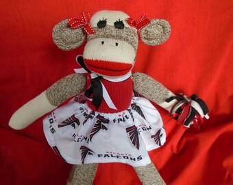 Atlanta Falcons Football Brown Red Heel Sock Monkey Girl Doll/Cheerleader