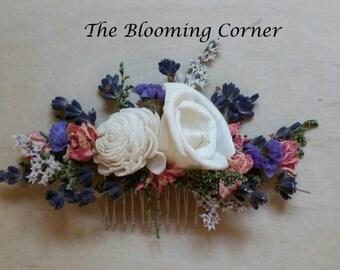 Bridal Hair combs, Hair comb, Accessories, Dried hair comb, dried lavander,   dried flower comb, Wedding Hair Accessories, Flower hair Pin