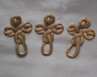 3 Brass Metal Celtic Knot Findings, Stampings - Woven Motif - Antique Gold Finish - Vintage NOS - Jewelry & Crafting Supplies, Components