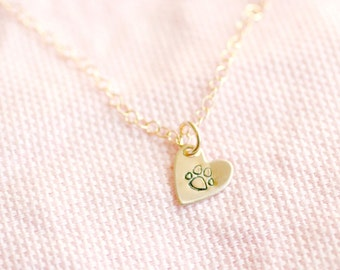 Tiny Heart Necklace, Personalized Gold Filled Necklace, Layering Necklace, Hand Stamped Jewelry, Bridesmaid, Sterling Silver, Rose Gold
