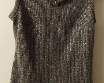 TONI TODD Sleeveless Shirt Black / Silver Knit