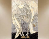 original horse painting textured feathered dapple pony equestrian art 24X36 FREE SHIP