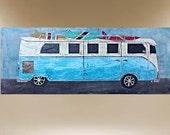 VW original modern texture painting art volkswagon 40X16 FREE SHIP