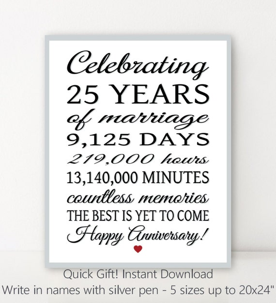 25 Best Anniversary Quotes On Pinterest: 25th ANNIVERSARY 25 Years Parents Anniversary Sign DiY