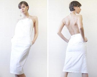 Vintage ICEBERG minimalist white linen backless halter neck knee length midi dress XS