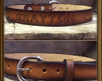 """Genuine Leather Kids/Childs   belt with footballsl -from infants to size 28""""  Hand-made & Personalized Name Belt"""