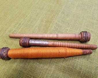 Three Antique Wooden Textile Bobbins Spools circa 1930's