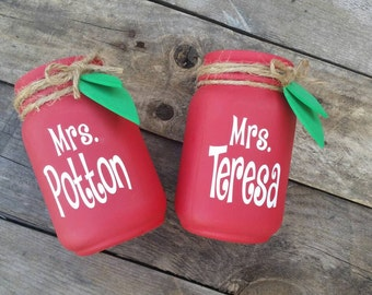 Personalized Teacher Apple Mason Jar Vases