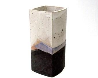 Vintage HALLING 8in Square Column Studio Art Pottery Slab Vase W/ Matte Glaze Earthy Color Black Grey Brown Handmade Signed Famous MN Potter