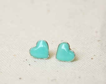 Mint stud earrings, Valentine gift, Tiny hearts, Mint green ear posts, Hearts studs, hearts jewelry