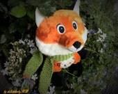 Cute musical fox with music box handmade fox plush toy  nursery