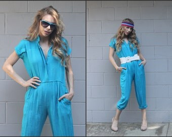 Vintage 80s Jumpsuit Slouchy Grunge New Wave XS S M
