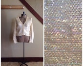 30% OFF / Planets & Stars 1950s Cream/Iridescent Sequin Knit Cardigan